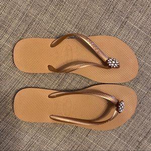 Gold Havaianas Sandal